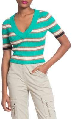Tracy Reese Banded Stripes V-Neck Crop Sweater