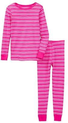 Skylar Luna Organic Cotton Pink & Coral Stripe Pajama Set (Baby, Toddler, Little Girls, & Big Girls)