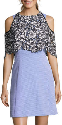 Nicole Miller New York Cold-Shoulder Lace Popover Dress