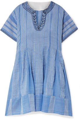 Lemlem Net Sustain Zinab Pleated Metallic Striped Cotton-blend Voile Mini Dress - Light blue