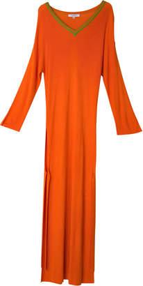 Tuinch V-Neck Cashmere-Blend Long-Sleeve Dress