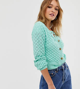 Monki textured knitted button through cardigan in mint green