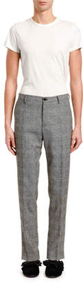 Dolce & Gabbana Men's Glen Plaid Wool Flat-Front Pants
