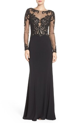 Women's La Femme Embellished Illusion Gown $538 thestylecure.com
