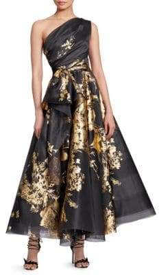 Marchesa Metallic Foil Printed Silk Cocktail Dress