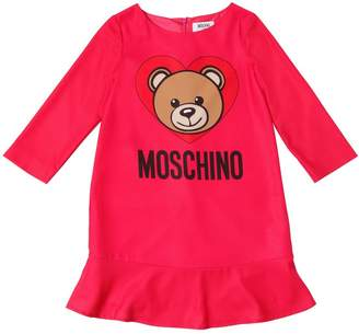 Moschino Teddy Bear Print Crepe Dress