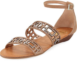 Premium Collection By Yellow Box Violet Embellished Suede Sandal, Neutral