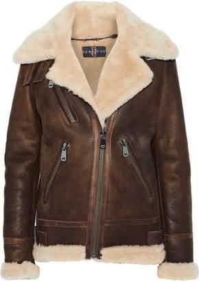 Dom Goor Leather-trimmed Shearling Biker Jacket