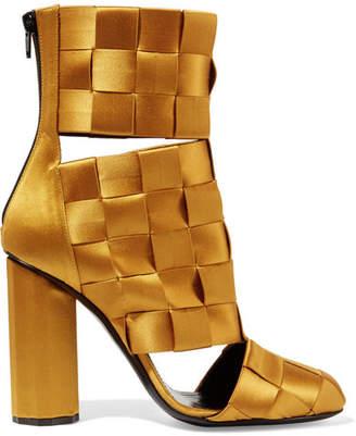 Marco De Vincenzo - Cutout Basketweave Satin Ankle Boots - Mustard $1,235 thestylecure.com