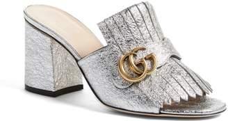 Gucci GG Marmont Peep Toe Kiltie Mule