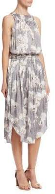 Halston Roundneck Printed Ruched Maxi Dress