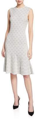 St. John Graphic Ottoman Sleeveless Fit-&-Flare Dress w/ Cutout Back