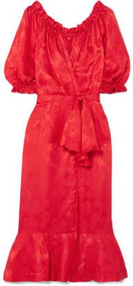 Saloni Olivia Wrap-effect Silk-satin Jacquard Midi Dress - Red