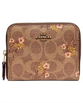 Coach Small Zip Around Wallet In Signature Canvas With Floral