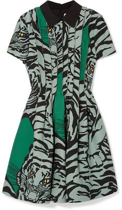 Valentino Printed Wool And Silk-blend Crepe Mini Dress - Green