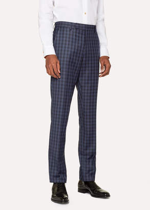 Paul Smith Men's Slim-Fit Navy Check Wool Pants