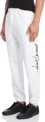 Second/Layer White Script Embroidered Joggers