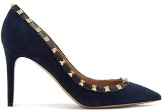 Valentino Rockstud Point Toe Suede Pumps - Womens - Navy