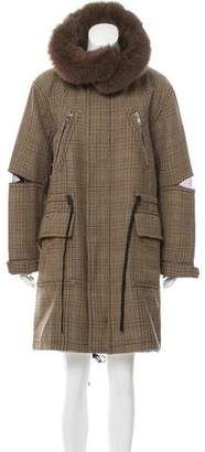3.1 Phillip Lim Fur-Trimmed Plaid Coat