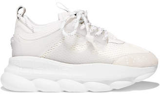 Versace Chain Reaction Mesh, Neoprene And Suede Platform Sneakers - White