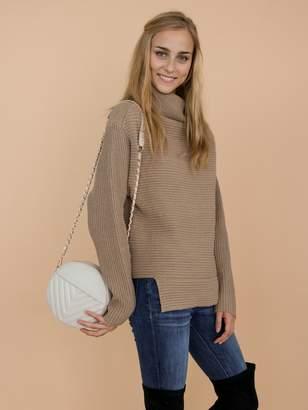 Goodnight Macaroon 'Susan' Khaki Ribbed Funnel Neck Asymmetric Hem Sweater
