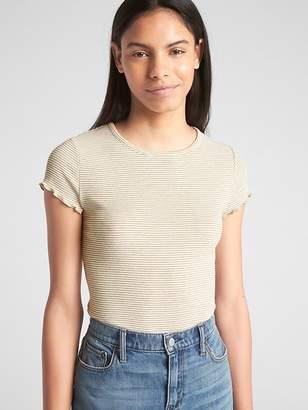 Gap Featherweight Ribbed Metallic Stripe Ruffle Sleeve T-Shirt