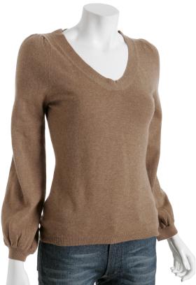 Tocca camel virgin wool v-neck sweater