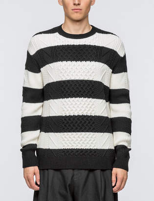 McQ Striped Cable Crewneck Sweater