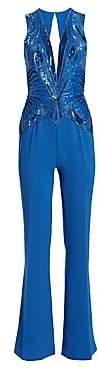 ZUHAIR MURAD Women's Embellished V-Neck Jumpsuit