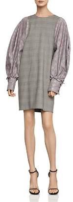 BCBGMAXAZRIA Bishop-Sleeve Glen Plaid Dress
