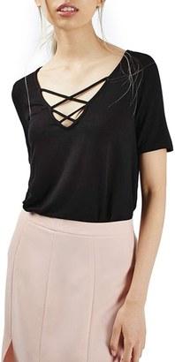 Women's Topshop Cross Neck Tee $28 thestylecure.com