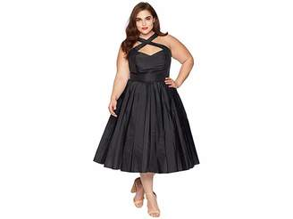 Unique Vintage Plus Size 1950s Style Taffeta Cross Halter Joy Party Dress