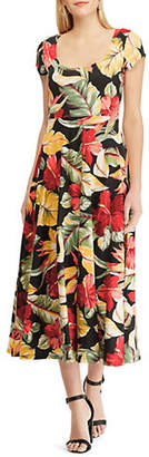 Chaps Tropical Cotton Jersey Fit-and-Flare Midi Dress