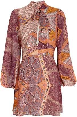 Divine Heritage Paisley Tie Neck Dress