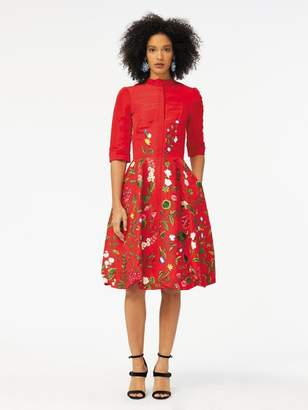 Oscar de la Renta Botanical Embroidered Silk-Faille Cocktail Dress