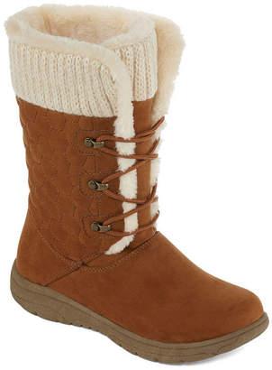 Liz Claiborne Womens Clinton Winter Boots Flat Heel Lace-up