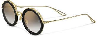 Elie Saab Mirrored Round Metal Sunglasses w/ Leaf Motifs