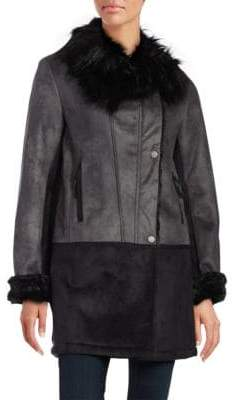 T Tahari Faux-Fur-Trimmed Asymmetrical Leatherette Coat