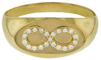 Foundrae Baby Signet Infinity Ring - Yellow Gold