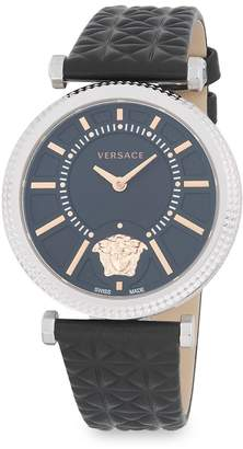 Versace Women's Stainless Steel Analog Leather-Strap Watch