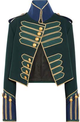 Cropped Embellished Wool Jacket - Forest green