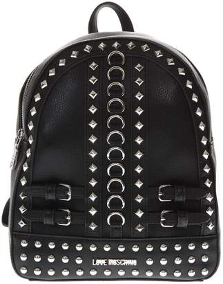 Love Moschino Black Faux Leather Backpack With Metal Studs And Buckles