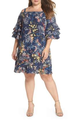 Gabby Skye Gabby Sky Floral Tiered Sleeve Off the Shoulder Dress
