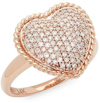 Effy Women's Diamond & 14K Rose Gold Heart Ring