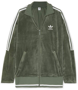 adidas Striped Stretch-velvet Track Jacket