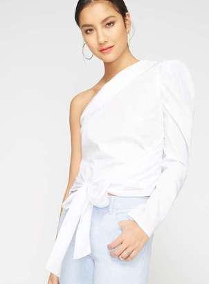 Miss Selfridge White asymmetric puff sleeve top