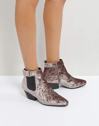 Qupid Low Heel Velvet Western Boot