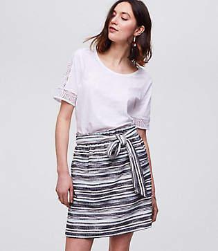 LOFT Petite Stripe Belted Pull On Pocket Skirt