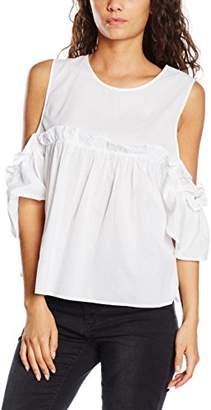 boohoo Women's Sasha Woven Open Shoulder Frill T-Shirt,6
