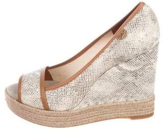 Tory Burch Printed Canvas Peep-Toe Wedges